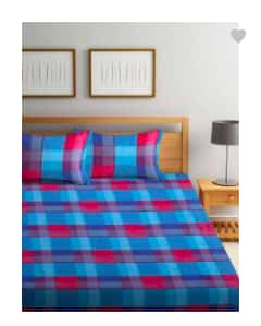Raymond Home 104 TC Cotton Double Bedsheet(1 Double Bedsheet, Blue, Red)