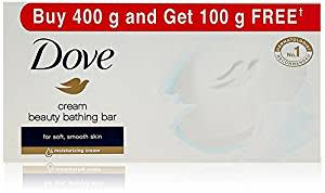 Dove Cream Beauty Bathing Bar,Buy 400 g and get 100 g free