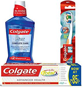 Colgate Total Advance Health Toothpaste - 120 g and 360 Whole Mouth Clean Toothbrush with Plax Complete Care Mouthwash - 250 ml