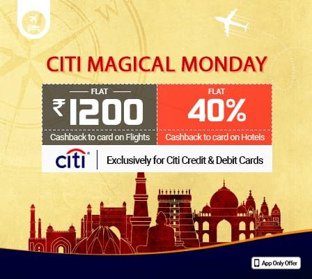 Flat Rs 1200 cashback on Flight & 40% cashback on Hotels bookings at goibibo on payment via CITI Bank Cards