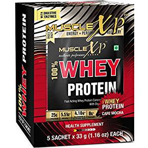 MuscleXP 100% Whey Protein New Gold Standards (Pack of 5 Serving) - Cafe Mocha With Digestive Enzymes
