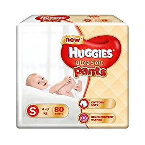 Huggies Ultra Soft Pants Small Size Premium Diapers (80 Counts)