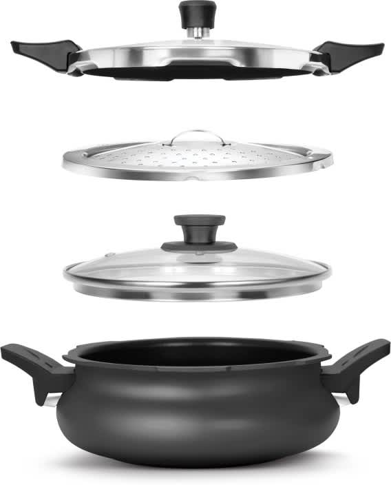 Pigeon All in One Super Cooker Outer Lid - Black 3 L Pressure Cooker with Induction Bottom