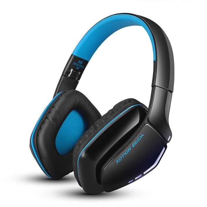 Kotion Each B3506 Wired, Bluetooth Headset with Mic  (Black/Blue, Over the Ear)