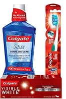 Colgate Visible White Sparkling Toothpaste - 100 g (Mint) and 360 Visible White Toothbrush with Plax Complete Care Mouthwash - 250 ml
