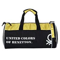 United Colors of Benetton Gym Bag Polyester 45 cms Black/Yellow Gym Shoulder Bag (0IP6AMGBBY04I)