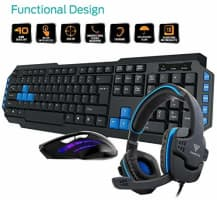 Gamdias Poseidon E1 Gaming Keyboard, Mouse and Headset Combo (Black and Blue) @ Rs.1599